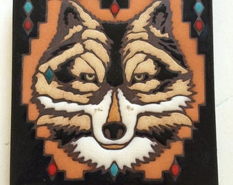 Vintage, Unique, Ceramic Tile Trivet, Hand Made, Hand Crafted, Native American Art, Wolf Portraid.