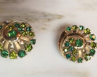 Vintage Crown Trifari emerald and peridot rhinestone earrings