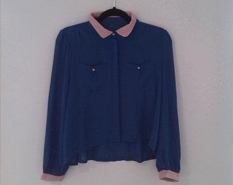Sheer vintage cropped blue shirt