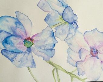 Original Watercolour Blue Flowers Wall Art