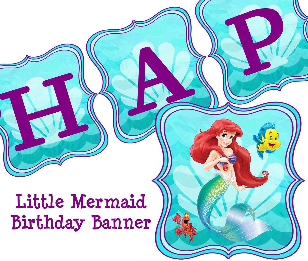 Disney Little Mermaid Birthday Banner Ariel By ColtelloDesign