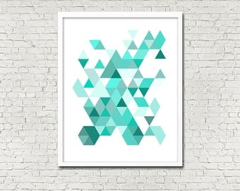 Modern Geometric Triangle Hexagon Pattern 5 x 7 or 8 x 10 PHYSICAL Wall Art Abstract Summer Bright Aqua Teal Blue Shapes Poster Print