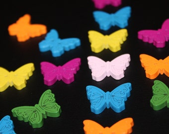20 wooden buttons in the shape of a butterfly purple orange pink blue green yellow