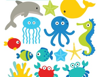 Under the Sea Clipart - set of seahorse, fish, crab, whales, octopus, dolphin - personal use, commercial use, instant download