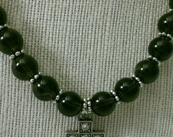 Smoky Quartz and Silver Cross with Crystals Necklace
