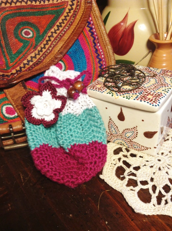 Drawstring Crochet Bag ~ Pouch, Blue, Magenta Purple and White with ...
