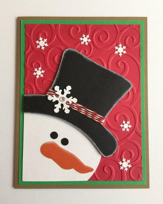 Handmade christmas snowman a2 card for Handmade snowman christmas cards