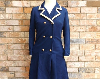 Fashionbilt Coat For All Seasons, Vintage 1960s Navy Double Breasted Coat, Lightweight Outerwear