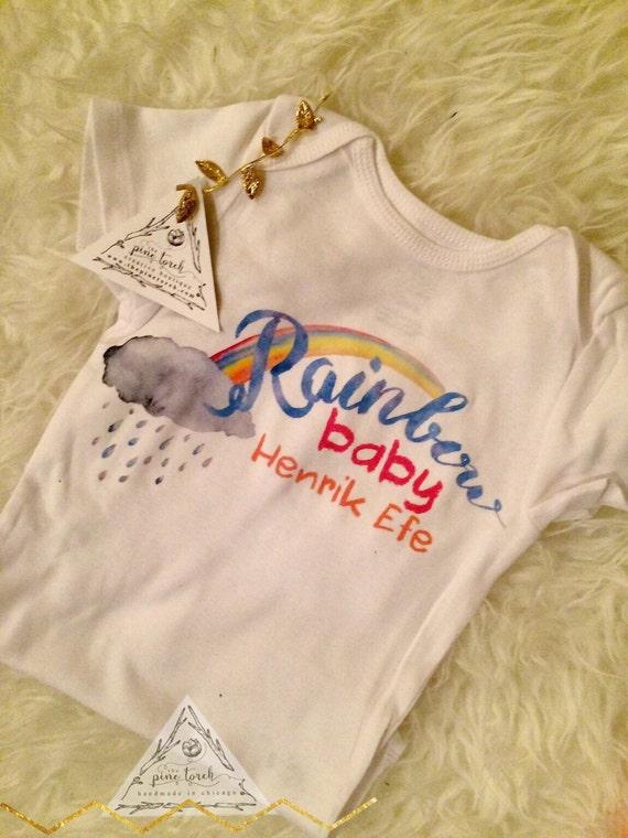 Rainbow Baby Shirt: RAINBOW BABY Custom Onesie®/ Rainbow Onesie® / By ThePineTorch