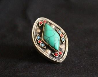 ring ethnic boho tribal ring kuchi afghan vintage gypsy azulcasinegro indian green stone