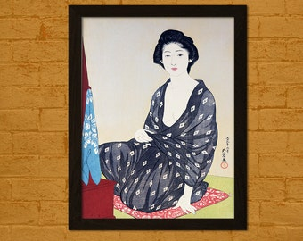 Get 1 Free Print - Japanese Art Print - Woman in Summer Garment 1920 - H. Goyo Ukiyo-e Prints Posters Design Wall Decor Japan Oriental Decor