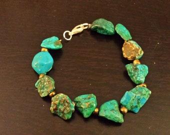 Rugged Turquoise Magnesite Bracelet