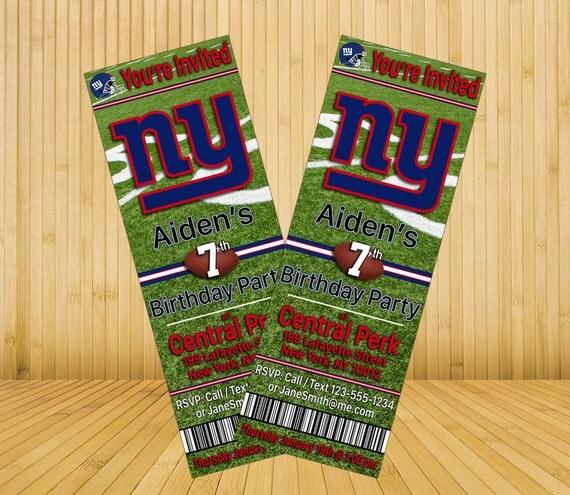 New York Giants Custom Birthday Invitations By