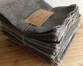 Family Starter Set - Ten Napkins in a Set - Reusable GREY Linen Napkins - Made to Order