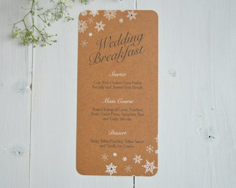 Rustic Christmas Wedding Menu
