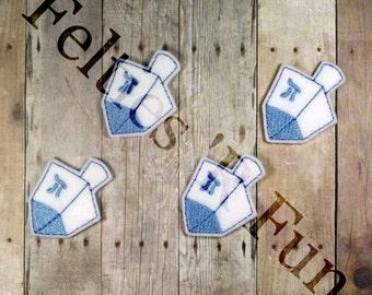 Dreidel Felties, Embroidered Felt Applique, Hanukkah (Set of 4 Uncut or Cut)