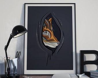 Peek-a-Boo Fox Illustration