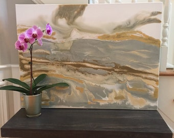 SOLD! Original Large Acrylic Modern Abstract Painting 30x40 with Metallic Gold and Silver Neutral Art