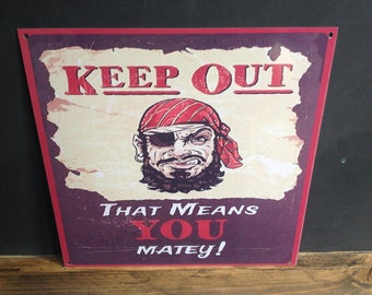 Pirate Keep Out Metal Tin Signs Bedroom/ Home Wall Hanging