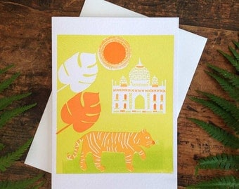 Tiger in India Letterpress Greeting Card