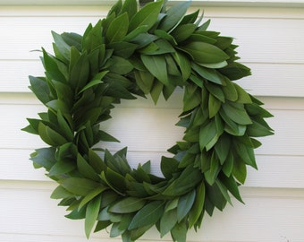 "Fresh Bay Leaf Wreath 15"" for Home Decor, Herbal Cooking, Herbs, Crafts, Wedding, Holidays, Christmas, Rustic, Farmhouse"