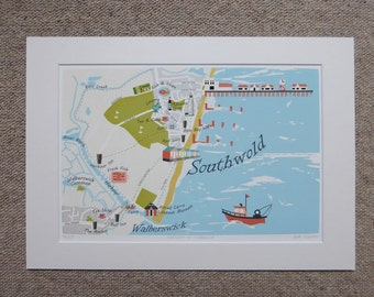 B4 Illustrated Map of Southwold & Walberswick - Limited Edition - Hand-drawn - Art Print - Made in UK - Perfect Gift - Ready to Frame