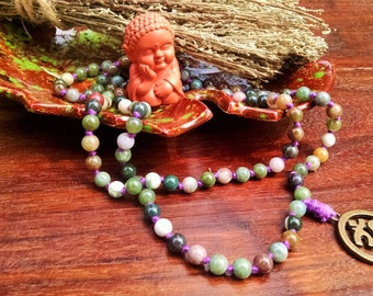 108 Hand Knotted Fancy Jasper Mala Beads, Malas, Mala Beads, Prayer Beads, Bead Necklace, 108 Mala Beads