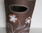 Floral Brown Felt Bag, Felt Bag, Brown Bag, Floral Bag, Bag for Girl. Top Handle Bag
