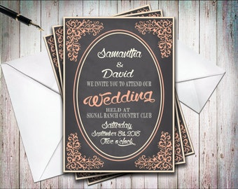 Printable DIY, Coral & Gray Vintage Inspired Elegant Wedding Invitation, Rustic Boho