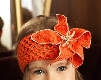 Baby Girl Crochet Headband Crochet headband Baby Headband Handmade lace Headband Orange baby girl headband Headband with a flower Flower pin