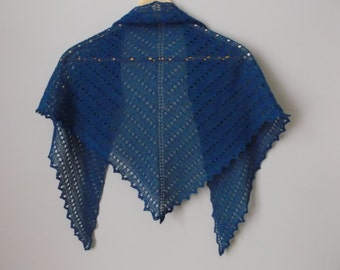 HANDKNITTED LADIES SHAWL Kingfisher Blue