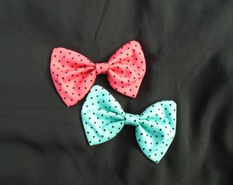 Handmade Hairbow - CUTE Retro/Vintage Style Polka Dots CORAL PINK or Teal
