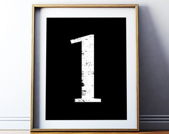 "Wall Decor ""1"" Number One Printable Poster - Numerology Typography Vintage Number Art Decor Numeral Print No 1 Wall Art Digital Download"
