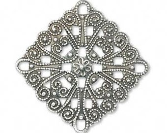 Square Filigree focal, antiqued silver connector, Link, Steampunk, 34x34mm diamond or 26x26mm square, 2 each, D352