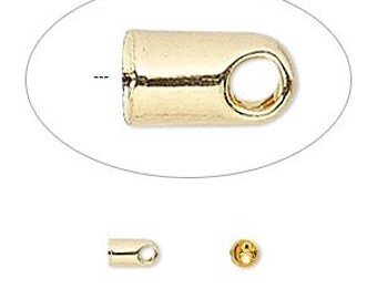 Gold cord end, glue in cord end, 5.5x3.5mm, 20 each, D543