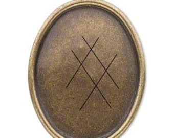 Cabochon setting, brass oval, pendant, glue in, Steampunk, 40x30mm cab setting, 1 each D348