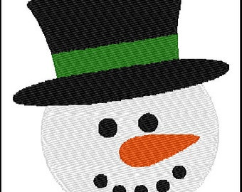 Snowman Face Embroidery Pattern Design