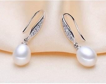 White Pearl Earrings, Pearl wedding earrings, Pearl Drop Earrings, Pearl earrings Silver, Bridal Earrings Pearl, Earrings for Bride