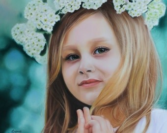 Валерия. Pastel portrait of children. Pastel portrait, Custom pastel portrait.