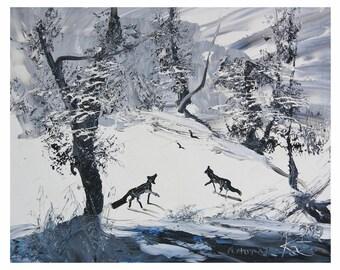 "Morris Katz Painting "" Winter Landscape"" Oil On Board"