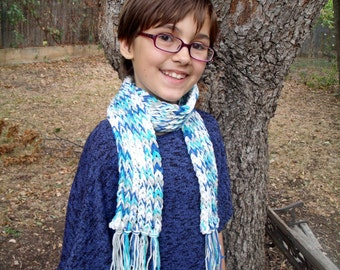 Blue & white cotton loom-knit scarf