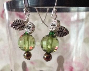 Green Apple Vintage Bead Earrings