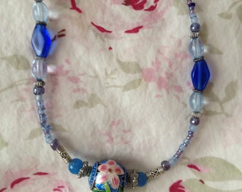 Vintage Blue Beaded Necklace with Enameled Pink and Blue Flower Bead