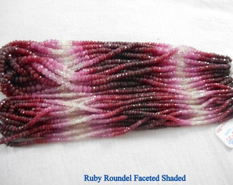 Ruby Roundel Faceted (Shaded) Natural 3-4MM