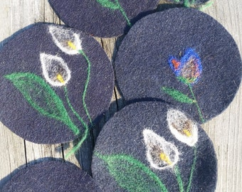 One-of-a-kind wool felted coasters
