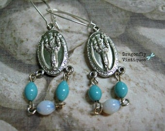 Earrings, Vintage, Religious Assemblage Earrings,Medals,Our Lady of the Rosary of Fatima,Silvertone,Blues,Upcycled,Recycled,Repurposed   /30