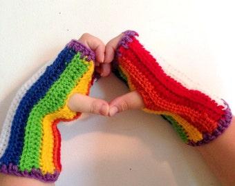 Gloves, Fingerless Gloves Crocheted Fingerless Gloves Rainbow Gloves Gay Pride Armwarmers Rainbow Fingerless Gloves Rainbow Gay Pride Gloves