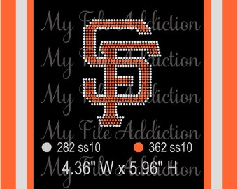 Instant Download Rhinestone SVG EPS Design File San Francisco SF Giants Small