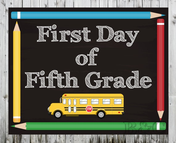 Slobbery image inside first day of 5th grade printable