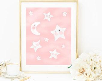 Nursery Print, Little Girl Nursery Print, Star Nursery, Stars, Baby Girl Nursery, Wall Art